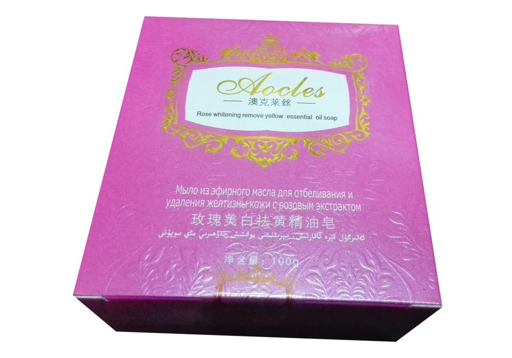 Мыло «Aocles» для очищения и отбеливания кожи, с экстрактом розы - на основе деионизованной воды и гиалуроновой кислоты